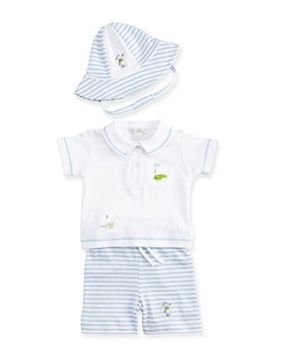 Chip & Putt Polo/Bermuda Shorts Set & Sun Hat, Light Blue/White