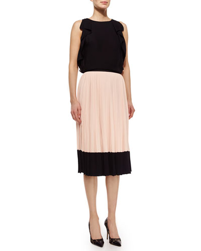 sleeveless ruffle-sleeve crepe top & pleated midi two-tone skirt