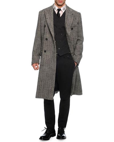 Herringbone Double-Breasted Overcoat, Double-Breasted Woven Vest, Crown-Print Sport Shirt, Tonal Herringbone Woven Trousers & Brocade-Print Silk Tie