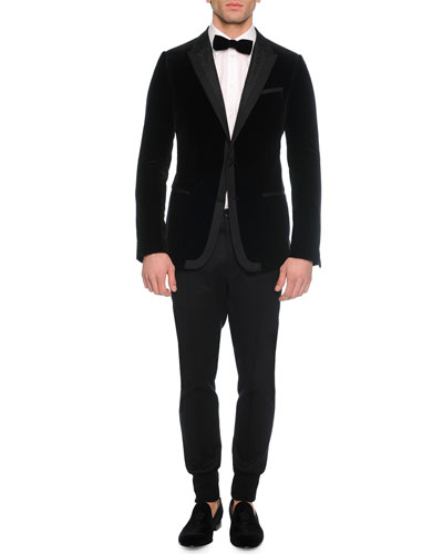 Velvet Evening Jacket, Long-Sleeve Woven Shirt, Solid Velvet Bow Tie & Woven Jogger Trouser Pants