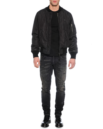 Nylon Puffer Bomber Jacket, Woven Crewneck Tee with Crown & Distressed Washed Denim Jeans
