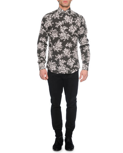 Dot/Floral-Print Long-Sleeve Sport Shirt & Woven Jogger Trouser Pants