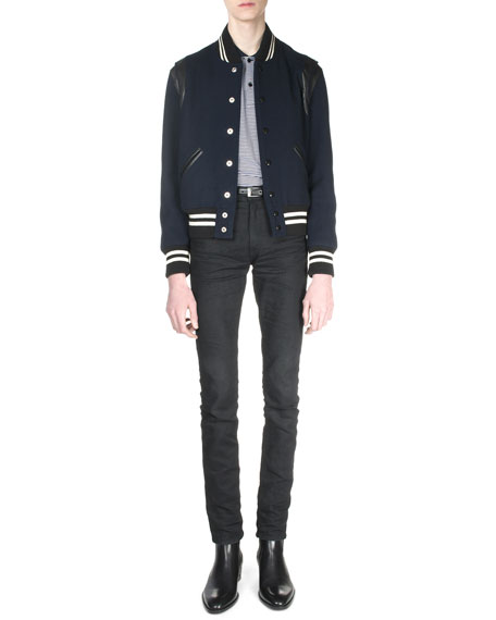 Saint Laurent Classic Teddy Jacket with Leather Detail,