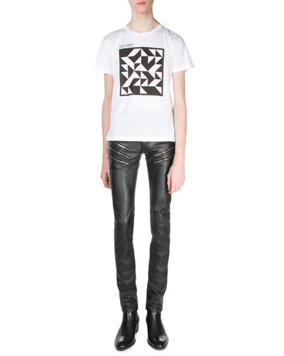 Geo-Print Artist Logo Tee & Faux-Leather Skinny Jeans