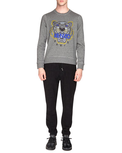 Embroidered Tiger Icon Crewneck Sweatshirt & Textured Drawstring Jogging Pants
