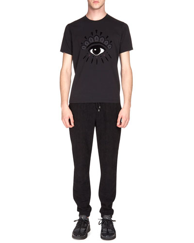 Eye-Print Icon Tee & Textured Drawstring Jogging Pants