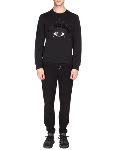 Logo Sweatshirt with Eye Embroidery & Textured Drawstring Jogging Pants
