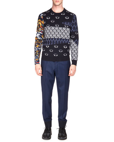 Multi-Icon Print Crewneck Sweater & Tailored Jogger Pants