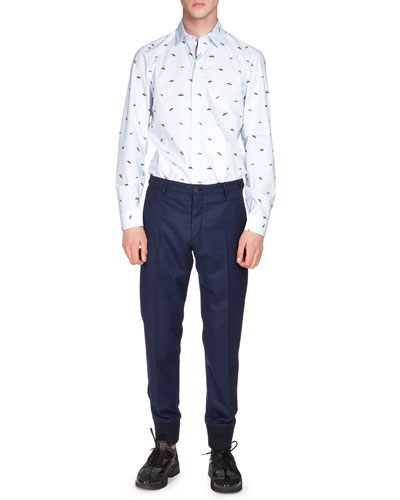 UFO-Print Long-Sleeve Poplin Shirt & Tailored Jogger Pants