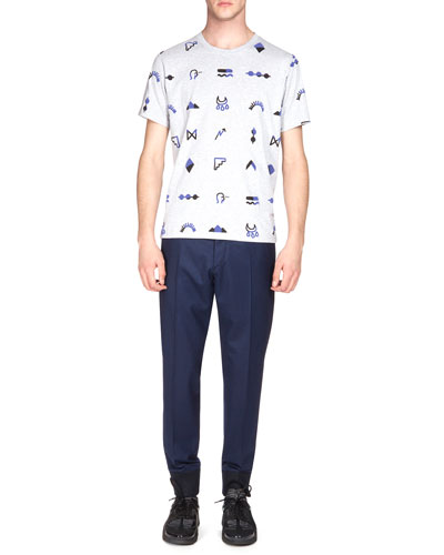 Multi-Icon Short-Sleeve Graphic Tee & Tailored Jogger Pants