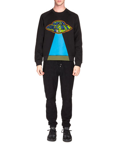 UFO Patch Knit Sweatshirt & Textured Drawstring Jogging Pants