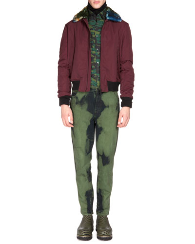 Nylon Bomber Jacket with Contrast Fur Collar, Camo-Print Button-Down Shirt & Over-Dyed Denim Jeans