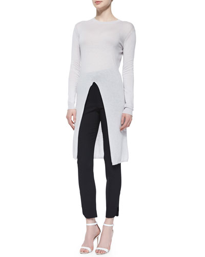 Long-Sleeve Slit-Center Sweater & Stud-High-Waist Slim Pants