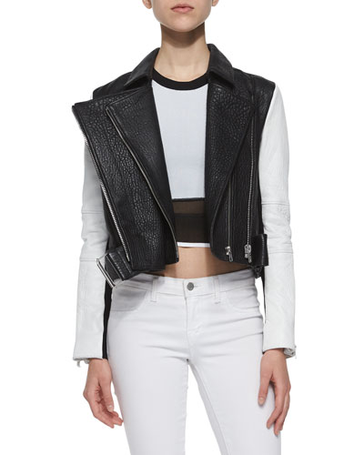 Forge Cropped Leather Biker Jacket & Opposing Opacity Mixed-Fabric Tank