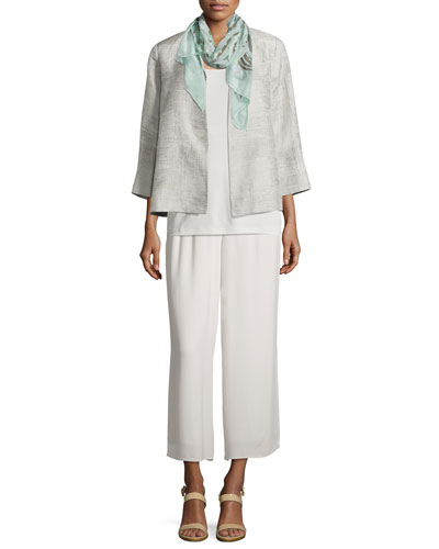 Linen Jacquard Jacket, Silk Camisole,  Silk Parallelogram Scarf & Wide-Leg Georgette Cropped Pants