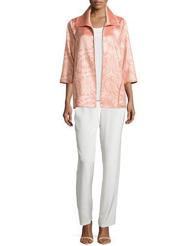 3/4-Sleeve Jacquard A-line Jacket, Long Silk Crepe Tank & Silk Crepe Straight-Leg Pants