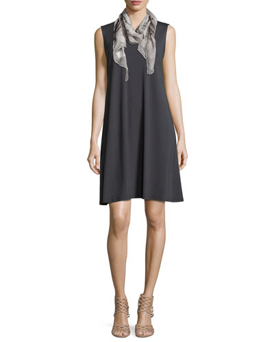 Sleeveless A-line Dress & Maltinto Silk Parallelogram Scarf, Petite