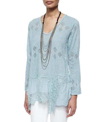 Long-Sleeve Georgette Tunic W/ Dangle Trim & Tiered Capri Necklace, Women's