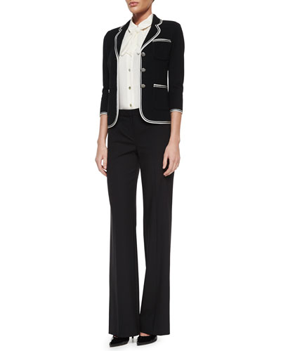 Milano Pique Knit Jacket, Stretch Silk Shell with Bow & Tropical Modern Stretch Pants