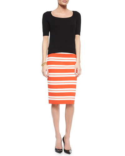 Luxe Striped Knit Pencil Skirt, Ribbed Knit Wool Sweater & Boucle Knot Chain Bracelet