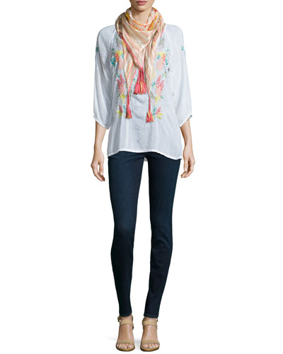 3/4-Sleeve Embroidered Blouse & Axis Printed Georgette Scarf, Women's