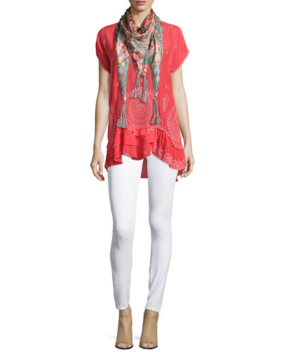 Scalloped Ruffle Georgette Blouse & Journey Printed Silk Scarf, Women's