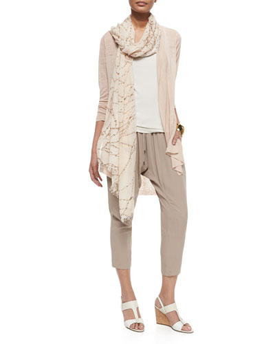 Eileen Fisher Shawl Collar Long Cardigan, Silk Camisole,