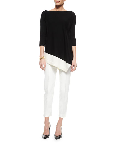 Merino Wool Asymmetric-Hem Sweater, Boucle Knot Chain Bracelet & Stretch Micro Ottoman Capri Pants