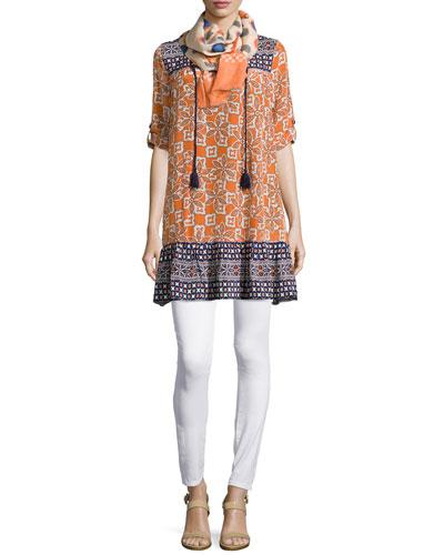 Devina Tie-Neck Printed Tunic/Dress & Dots Scarf W/ Fringe Trim, Women