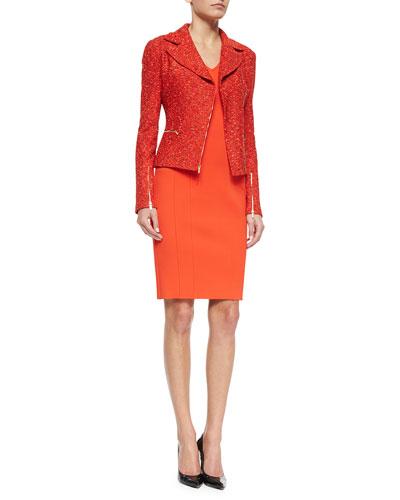 Crinkle Tweed Asymmetric Jacket & Luxe Sculpture V-Neck Sheath Dress
