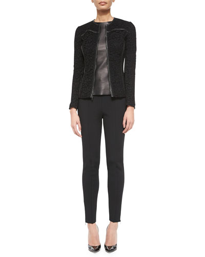 Leather-Trimmed Plume Lace Jacket, Napa Leather Combo Shell & Luxe Sculpture Knit Ankle Pants