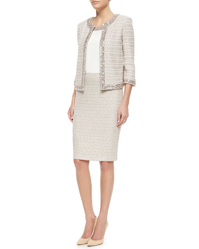 Organic Texture Jacket, Silk Shell & Pencil Skirt