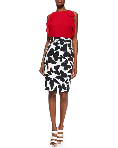 sleeveless ruffle-sleeve crepe top & butterfly-print midi pencil skirt