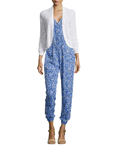 Moore Long-Sleeve Short Cardigan & Melba Printed Jumpsuit