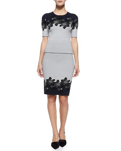 Devon Short-Sleeve Striped Floral Top & Brennan Pencil Skirt