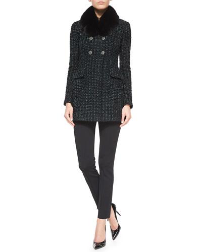 Subtle Tweed Eyelash Jacket, Fox Fur Collar & Luxe Sculpture Knit Ankle Pants