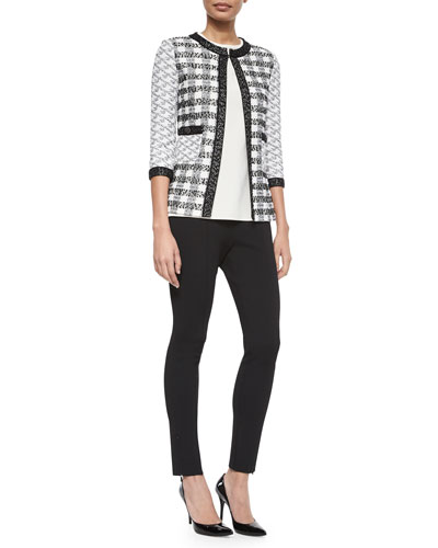 Macro Check Knit Cardigan, Jewel-Neck Crepe de Chine Shell & Luxe Sculpture Knit Ankle Pants