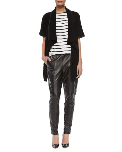 Leather-Trimmed Cable-Knit Cardigan, Catalina Striped Silk Stretch Tank & Luxe Napa Leather Zip-Cuff Pants