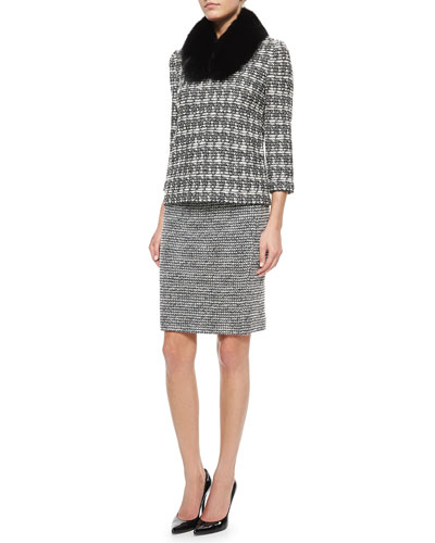 Abstract Houndstooth Tweed Top, Fox Fur Collar & Novelty Tweed Pencil Skirt