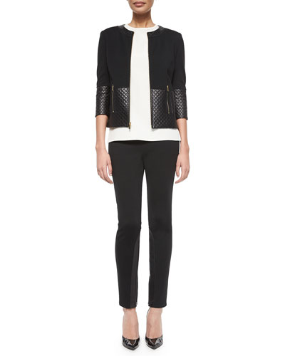 Quilted Leather Combo Jacket, Jewel-Neck Crepe de Chine Shell & Leather-Inset Cropped Leggings