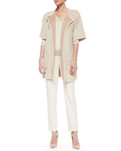 Wool-Silk Blend V-Neck Sweater, Crepe Marocain Cropped Pants & Mini Paper Eyelash Tweed Jacket