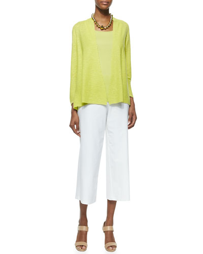 3/4-Sleeve Organic Linen Cotton Cardigan, Organic Cotton Slim & Wide-Leg Washable-Crepe Cropped Pants, Petite