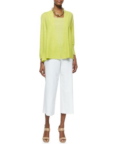 3/4-Sleeve Organic Linen Cotton Cardigan, Organic Cotton Slim & Wide-Leg Washable-Crepe Cropped Pants, Women's