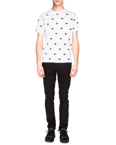 Black Eye-Printed Tee & Brushed-Cotton Chino Pants