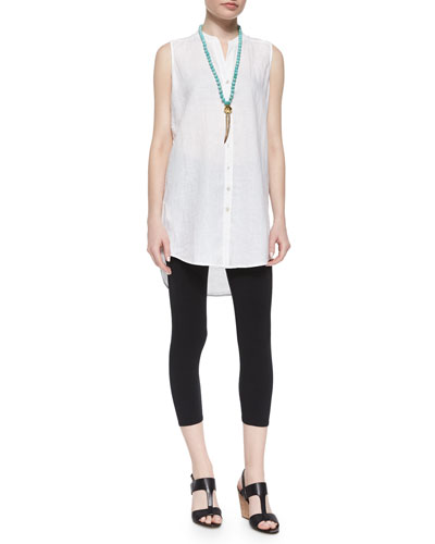 Sleeveless Long Linen Shirt & Lightweight Jersey Cropped Leggings