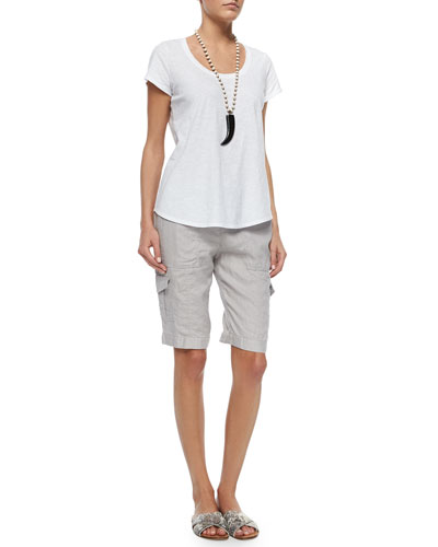 Slubby Short-Sleeve Scoop-Neck Tee & Drawstring Cargo Linen Shorts