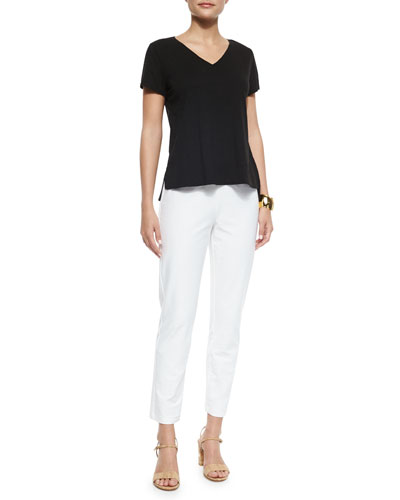 Short-Sleeve Organice Cotton Tee & Wide-Leg Cropped Pants, Women's