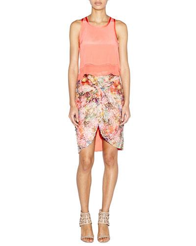 Sleeveless Silk Sheer-Hem Crop Tank & Twist-Front Sequined Skirt