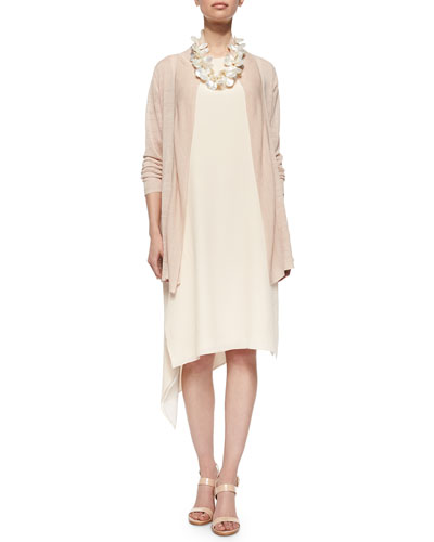 Shawl Collar Long Cardigan & Sleeveless Silk Asymmetric Dress, Petite