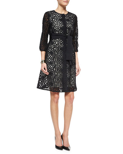 Camellia Crochet Lace Jacket, Luxe Sculpture Knit Sheath Dress & Two Tone Pearly Stud Cuff